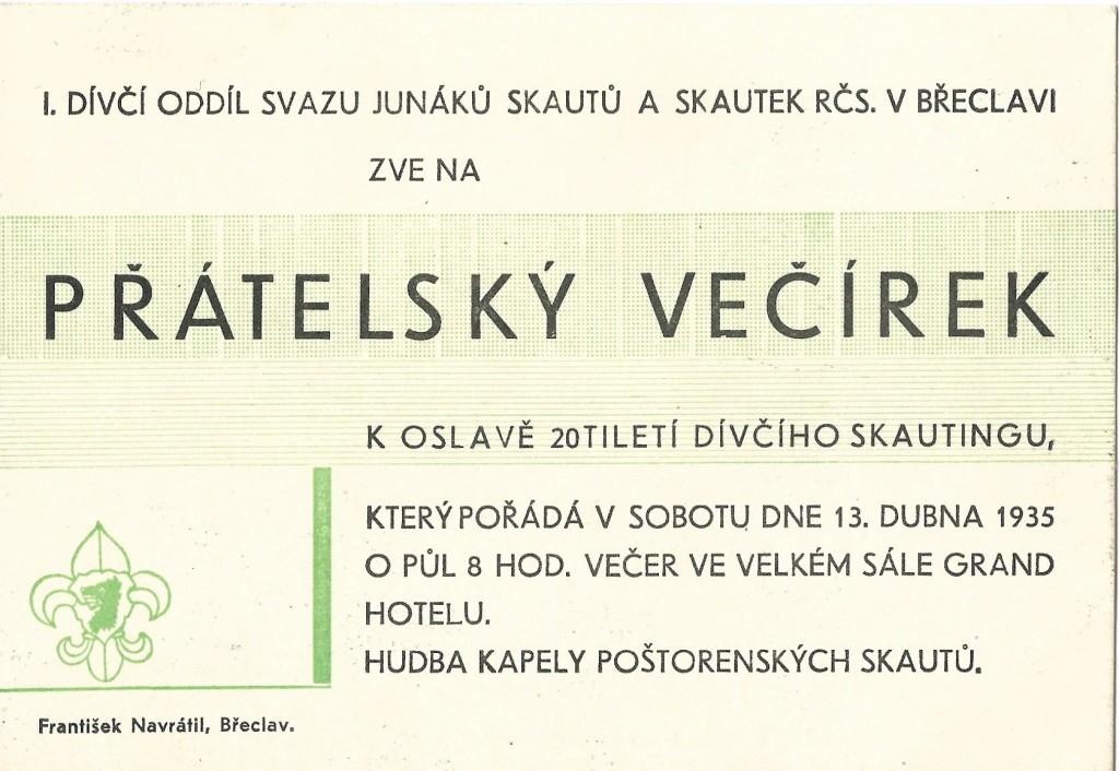 Pozvánka na večírek, dívčí skauting, Břeclav, 1935